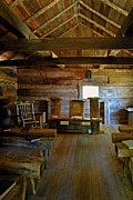 Log Cabins Prints - Log Cabin Appalachian Church Print by Paul W Faust -  Impressions of Light
