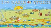 Log Cabin Art Painting Posters - Log Cabin Art Studio Poster by Virginia Ann Hemingson