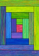 Colored Pencil Abstract Framed Prints - Log Cabin Card Framed Print by David K Small