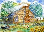 Log Cabin Art Mixed Media Framed Prints - Log Cabin Framed Print by Don Hand