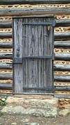 Old Cabins Posters - Log Cabin Door Poster by Lew Davis