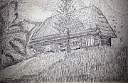 Featured Drawings - Log Cabin by Erman Selibio
