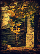 Log Cabin Art Posters - Log Cabin in Autumn Poster by Cassie Peters