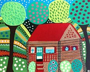 Log Cabin Art Painting Posters - Log Cabin In Hunter New York Poster by Kerri Ambrosino GALLERY