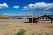 Nikon D80 Prints - Log Cabin in New Mexico Print by Sonja Quintero