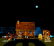 Leslie Crotty - Log Cabin Scene Near The...