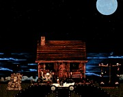 Log Cabins Art - Log Cabin Scene With 1908 Model T Ford by Leslie Crotty