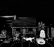 Log Cabins Art - Log Cabin Scene With Some Old Vintage Classic Cars From The Past In Black And White by Leslie Crotty