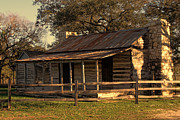 Log Cabins Photos - Log Cabins in Sunset by Linda Phelps