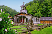Split Rail Fence Prints - Log Church Print by Mary Almond