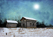 Log Cabin Art Framed Prints - Log Home In Winter Framed Print by C Wayne Hennebert
