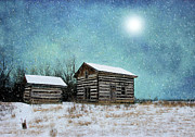 Log Cabin Art Prints - Log Home on a Winters Night Print by C Wayne Hennebert