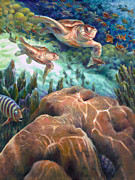 Baby Sea Turtle Paintings - Loggerhead Sea Journey I by Nancy Tilles
