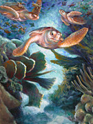 Sea Turtles Painting Originals - Loggerhead Sea Journey II by Nancy Tilles