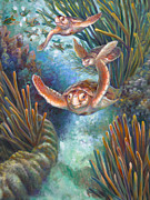 Baby Turtle Posters - Loggerhead Sea Journey III Poster by Nancy Tilles