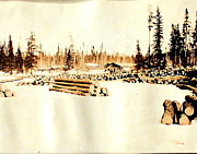 Logging Camp Posters - Logging Camp Poster by Mavis Reid Nugent