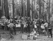 Loggers Framed Prints - Logging Crew Lunch Framed Print by Underwood Archives