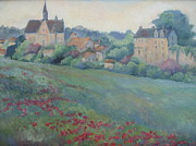 Provence Village Prints - Loire Valley Chateau Print by Linda  Wissler