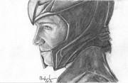 Thor Drawings Prints - Loki smirking Print by Christine Jepsen