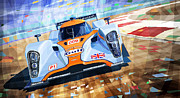Sport Mixed Media Framed Prints - Lola Aston Martin LMP1 Racing Le Mans Series 2009 Framed Print by Yuriy  Shevchuk