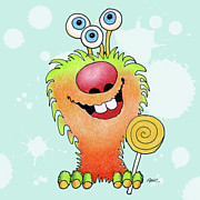 Color Pencil Prints - Lolli Pop Monster Print by Annie Troe