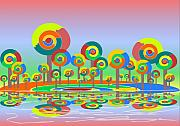 Funny Mixed Media Metal Prints - Lollypop Island Metal Print by Anastasiya Malakhova