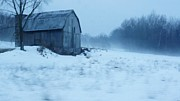 Snow On Barn Posters - Lomesome Hip Roofed Barn Over Looking The Back Forty Poster by Rosemarie E Seppala