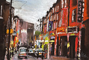 City Streets Pastels Posters - London Brick Lane 1 Poster by Paul Mitchell