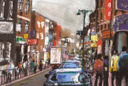 City Streets Pastels Posters - London Brick Lane 2 Poster by Paul Mitchell