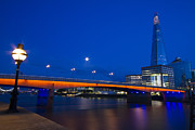 Chelsea Prints - London Bridge Shard night Print by David French