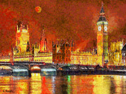Surrealism Paintings - London by night by George Rossidis
