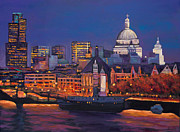 Original Fall Landscape Paintings - London Calling. Autumn by Johnathan Harris