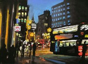 Traffic Pastels Prints - London City At Night Print by Paul Mitchell