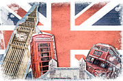 Double Decker Posters - London collage Poster by Delphimages Photo Creations