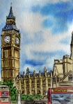 Sketchbook Painting Prints - London England Big Ben Print by Irina Sztukowski
