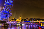 London At Night Framed Prints - London Eye and Big Ben Framed Print by Ian Hufton