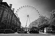 London Taxi Prints - London Eye and county hall viewed from the southbank london England UK Print by Joe Fox