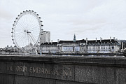 London Eye Millennium Pier Posters - London Eye Mono Poster by Jasna Buncic