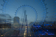 Reflections In River Digital Art Framed Prints - London Eye Zoom Burst Framed Print by Donald Davis