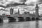 Clock Digital Art Posters - LONDON - Houses of Parliament and Red Buses Poster by Melanie Viola
