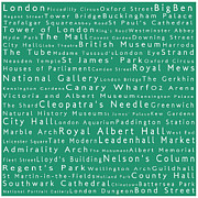 Abbey Road Prints - London in Words Algae Print by Sabine Jacobs