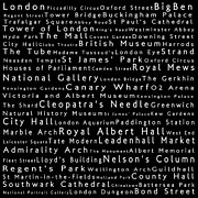 Canary Metal Prints - London in Words Black Metal Print by Sabine Jacobs