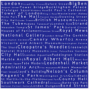 Abbey Road Prints - London in Words Blue Print by Sabine Jacobs