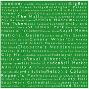 Abbey Road Prints - London in Words Green Print by Sabine Jacobs