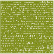 Abbey Road Prints - London in Words Olive Print by Sabine Jacobs