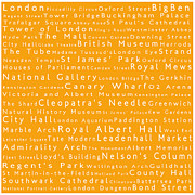 Abbey Road Prints - London in Words Orange Print by Sabine Jacobs