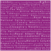 Abbey Road Prints - London in Words Pink Print by Sabine Jacobs