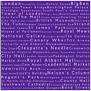 Abbey Road Prints - London in Words Purple Print by Sabine Jacobs