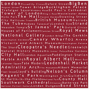 Abbey Road Prints - London in Words Red Print by Sabine Jacobs