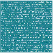 Abbey Road Prints - London in Words Teal Print by Sabine Jacobs
